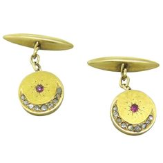 Antique Gold Rose Cut Diamond Ruby Cufflinks | From a unique collection of vintage cufflinks at http://www.1stdibs.com/jewelry/cufflinks/cufflinks/