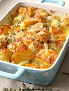 Cheesy roast potatoes.