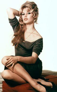 "Brigitte Bardot #modcloth #styleicon  Showing off her trademark ""Bardot Neckline."""