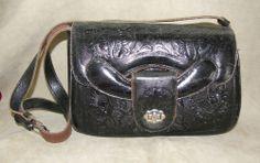 VINTAGE HAND SHOULDER BAG PURSE TOOLED NATIVE MEXICO BLACK  #Handmade #ShoulderBag 65$