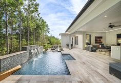 Take a swim, grab some sun, and enjoy the pleasant ambiance of the Abigail from Edison - Estate Collection in Jacksonville, FL. Spa Inspired Bathroom, Design Your Own Home, Toll Brothers, New Home Communities, Outdoor Flooring, Outdoor Living Areas, Resort Style, Florida Home, Pool Houses