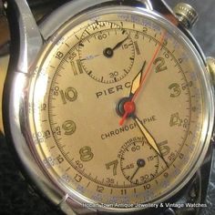 Vintage Watches Collection : Vintage Pierce Chronograph Oversized Quality Watch - Watches Topia - Watches: Best Lists, Trends & the Latest Styles Old Watches, Watches For Men, Pocket Watches, Vintage Rolex, Vintage Watches, Beautiful Watches, Awesome Watches, Old Clocks, Patek Philippe