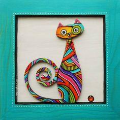 """Tableau du chat """"Papillon"""" assis sur un cadre turquoise : Décorations murales par sylphide"""