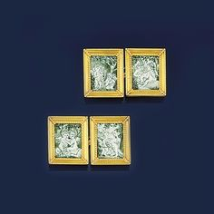 A pair of late 19th century gold and painted enamel cufflinks  Each panel designed as a gold miniature picture frame with beeded moulding, set with a painted green and white enamel miniature of two putti in various poses playing beneath a tree, each reverse panel with wire hanging detail, to single link connections, fitted case stamped London & Ryder - Sold for $3,942