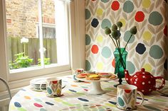 laura ashley - Serena wallpaper and mugs and Wallace fabric as tablecloth