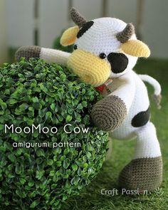 Get free cow amigurumi pattern, MooMoo Cow, crochet from a medium weight acrylic…
