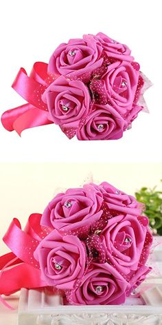 Clearance paymenow 5 pieces artificial silk fake flowers rose wedding bouquetnapoo crystal roses pearl bridesmaid bridal artificial silk flowers hot pink mightylinksfo