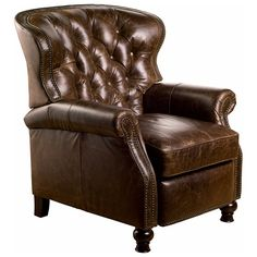♥ ♥ Cambridge Reclining Chair - Tufted, Chaps Havana Brown Leather ♥ ♥ - Discovered at www.dcgstores.com...