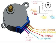 28BYJ-48 Stepper Motor Pinout Wiring Diagram