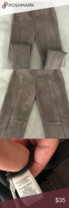 Faux suede leggings Brown faux suede leggings, the material has good weight to it. The leggings are very well made with a side zipper. Waist - 30.5  Inseam 28 (high waisted leggings) LOFT Pants