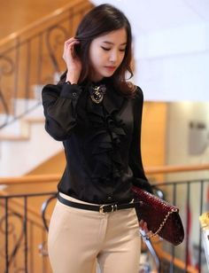 Black Ruffled Blouse for Women Chiffon Ruffled Blouse | sariasknitncrochet - Clothing on ArtFire