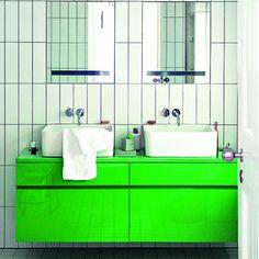 La salle de bains voit vert