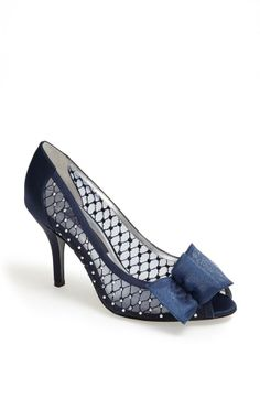 Princess worthy - Navy and pearl pumps with a cute little bow.