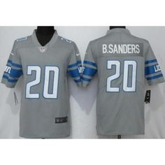 factory price f8e97 27281 Men s Detroit Lions  20 Barry Sanders Limited Gray 2017 Rush Jersey