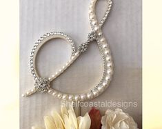 Ready to Purchase Pearl Cake Topper Monogram Wedding Cake Topper with Swarovski Crystals Fall Wedding Traditonal Wedding Letter S Any letter Monogram Cake Toppers, Rustic Cake Toppers, Custom Wedding Cake Toppers, Custom Cake, Wedding Cake Pearls, Wedding Cake Rustic, Wedding Cakes, Wedding Rings, Wedding Letters