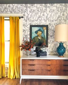 Love this hand wallpaper and mid century furniture and lamp Mid Century Dresser, Mid Century Decor, Mid Century Furniture, Painted Interior Doors, Painted Doors, Hand Wallpaper, Bright Wallpaper, Wallpaper Ideas, Eclectic Gallery Wall