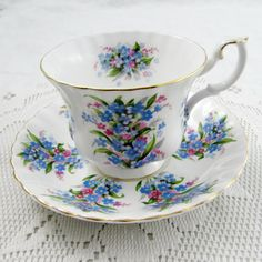 Royal Albert Springtime Series Forget-Me-Not Tea Cup and Saucer, Vintage Bone China