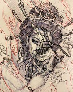 Geisha holding hannya sketch. #chronicink #asiantattoo #asianink #irezumi #tattoo #geisha #hannya #sketch #drawing #illustration