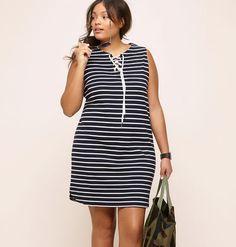 89b0f69aaff3 LORALETTE Women s Striped Sleeveless Dress at Amazon Women s Clothing  store  Trendy Plus Size Clothing