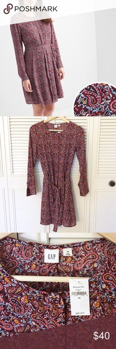 GAP Paisley Swing Shirtdress NWT GAP swing shirtdress in burgundy paisley print. Size XS. Currently sold out in this size on the website. GAP Dresses