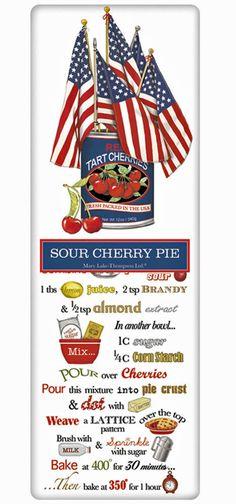 Patriotic Cherry Pie Recipe 100% Cotton Flour Sack Dish Towel Tea Towel