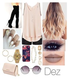 """Untitled #293"" by hermaliciousaddiction on Polyvore featuring River Island, Rebecca Taylor, Casetify, Rolex, Jeffree Star, Charlotte Russe, Robert Rose, Givenchy and Monki"
