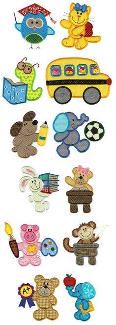 Applique school critters machine embroidery designs
