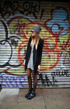 Fall casual street fashion with woolen hat and long cardi