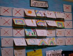 """Reggio Inspired"" Child Made Calendar a student of the day records their favorite activity of the day."
