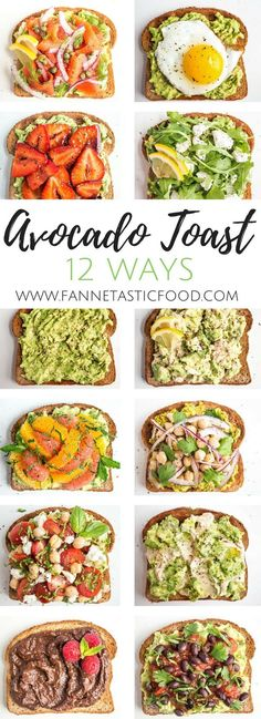 Take your avocado toast to the next level: 12 ways to make avocado toast, from everyday easy breakfast to worthy of a special occasion. Check out these creative avocado toast ideas from registered dietitian Anne Mauney of www.fannetasticfood.com!
