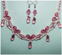 Delicate Pink Necklace Pattern | Bead-Patterns.com