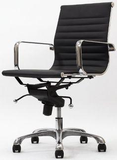 Malibu Mid Back Office Chair in White Leatherette - http://www.furniturendecor.com/malibu-mid-back-office-chair-in-white-leatherette/