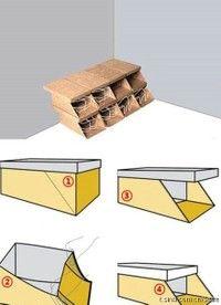Shoebox upcycle - how to fold shoe boxes into a shoe storage shelf