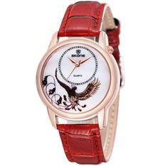 2016 New Fashion SKONE Women Leather Strap Watch Ladies Rose Gold Copper Really Trendy Watches Timepiece Quartz Wathes