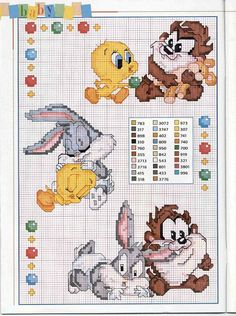 Baby looney tunes cross stitch pattern with color key cross stitch patterns free disney, cross Cross Stitch Patterns Free Disney, Cross Stitch For Kids, Cross Stitch Baby, Cross Stitch Charts, Cross Stitch Designs, Disney Stitch, Cross Stitching, Cross Stitch Embroidery, Baby Looney Tunes