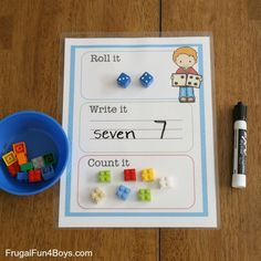 Printable Roll it, Write it, Count it Mats