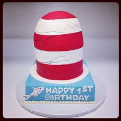 Dr. Seuss Cat in the Hat first birthday cake - Sweets by Millie