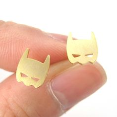 Batman Bat Mask Shaped Stud Earrings in Gold | Allergy Free from DOTOLY