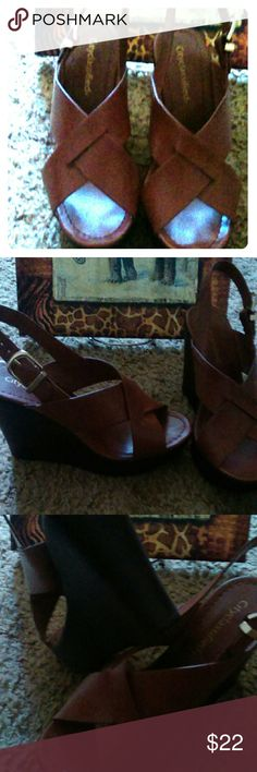 Shoes Brown wedge worn about 3x if that City Classified Shoes Wedges