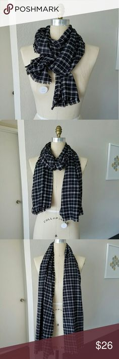Plaid Blanket Scarf A classic, versatile plaid scarf.  Can be worn as a scarf or light shawl.  Black & white plaid makes it easy to pair with almost any outfit!   NWT - brand new, never been worn!  **Handmade in California. Madewell used for exposure. Madewell Accessories Scarves & Wraps