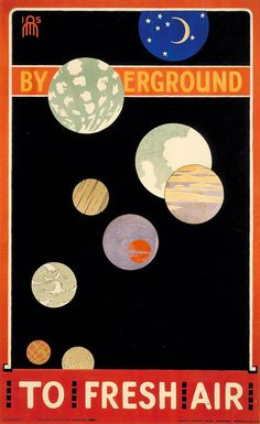 By Underground To Fresh Air vintage London Underground advertising poster by Maxwell Ashby Armfield, 1915 London Underground, Underground Tube, Vintage London, Vintage Ads, Poster Ads, Poster Prints, Advertising Poster, Art Print, London Transport Museum