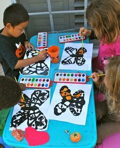 Painting Monarch Butterflies Craft- Kid World Citizen  Could be a nice tie in with the Journey South Migration Project