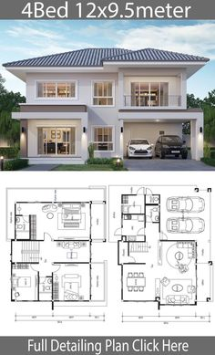 House design plan with 4 bedrooms. Style modernHouse description:Number … House design plan with 4 bedrooms. Style modernHouse description:Number of floors 2 storey. 4 Bedroom House Designs, 4 Bedroom House Plans, Bungalow House Design, House Front Design, Modern House Design, Duplex House Plans, New House Designs, Design Bedroom, Sims House Plans