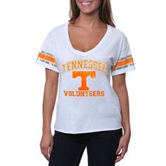 Tennessee Volunteers Women's Distressed Crop V-Neck T-Shirt - White