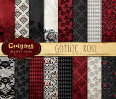 Gothic Rose Backgrounds by Origins Digital Curio on @creativemarket #rose #black #white #red #halloween #skull #lace #damask #textures #digital #paper #backgrounds #baby #shower #wedding #patterns #scrapbooking #scrapbook #pack
