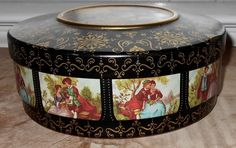 Vintage Tin -  Atlantic Can Company - Delawanna, NJ - Romantic French Scenes - Round Vintage Tin by Luv2Junk on Etsy