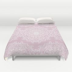 Lotus and Blush Duvet Cover by Lisa Argyropoulos | Society6, #pink pastel | mandala pattern on | home decor.