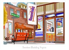 Souvlaki College and Draper Rd by BlacksburgArt on Etsy, $30.00