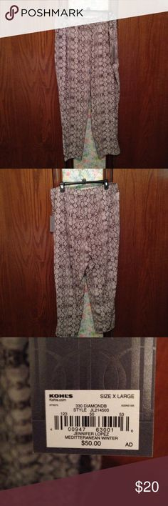 Jennifer Lopez Pants-NWT New Jennifer Lopez Pants. Adjustable waist with pockets. Very comfortable. 100% Polyester. Machine wash in cold water on gentle cycle. Tumble dry on low. Very soft. Excellent Condition. Jennifer Lopez Pants