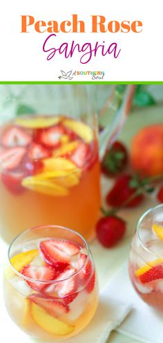 Peachy Rosé Sangria is a light refreshing drink thats ideal for summertime sipping. Flavored with fresh fruit peach juice and Schnapps Rosé wine is transformed into something special to serve at parties or for casual entertaining with friends. Summer Drink Recipes, Easy Drink Recipes, Sangria Recipes, Drinks Alcohol Recipes, Fruit Recipes, Smoothie Recipes, Cocktail Recipes, Potluck Recipes, Healthy Cocktails
